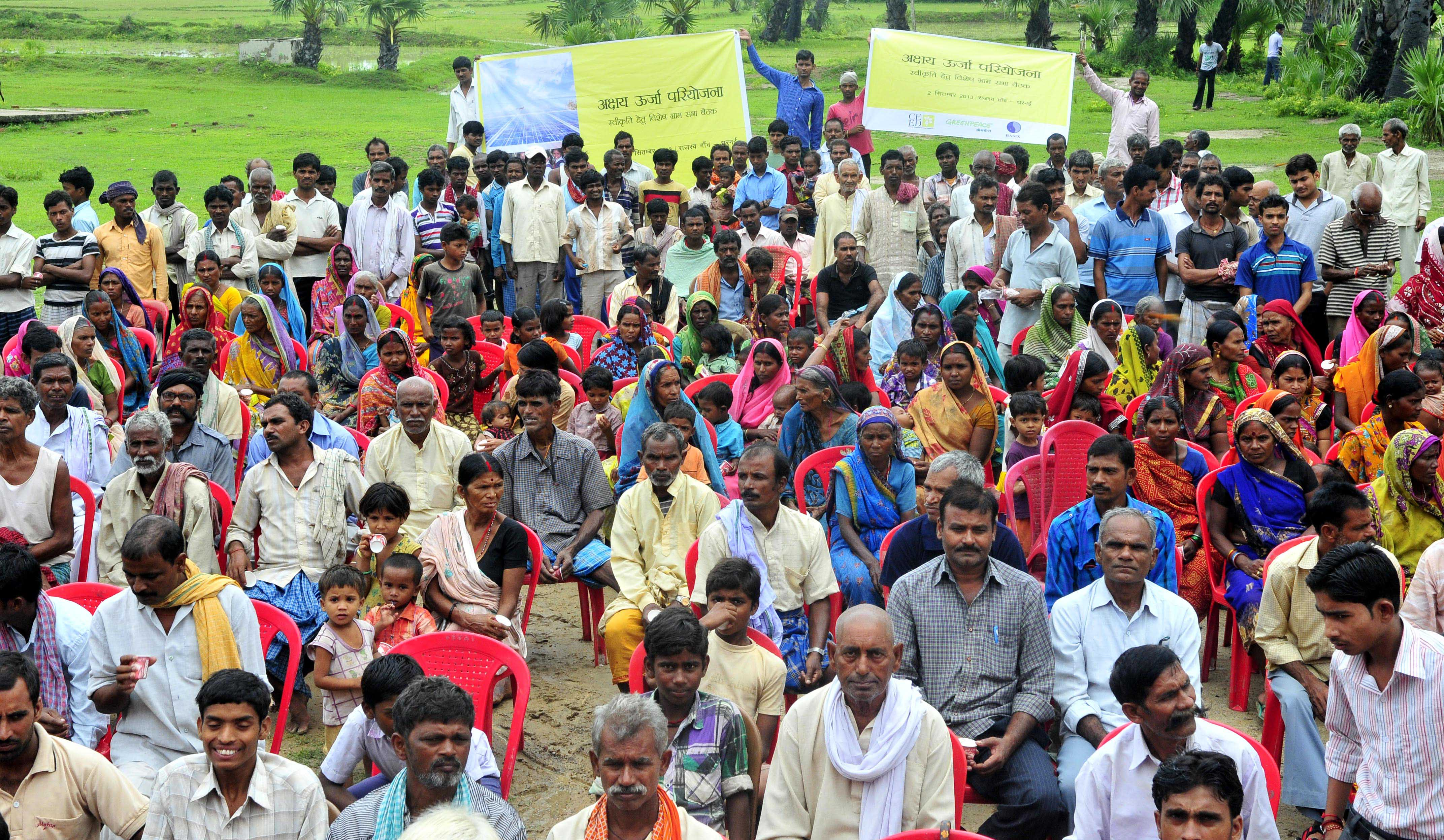 Villagers in Dharnai, Bihar at the Gram Sabha meet for the Bihar Rural Electrification Micro Grid Project give their 'go ahead' for the Rural Electrification Micro Grid Project.