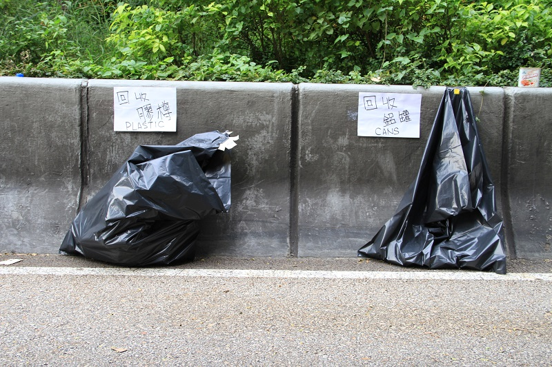 Street recycling bags during the Hong Kong protests.