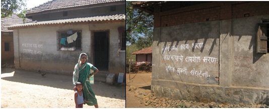 Anti-dam slogans on the walls of the houses in Murbad