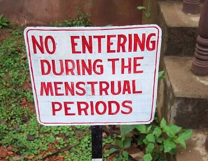 Image result for menstrual female customers not allowed