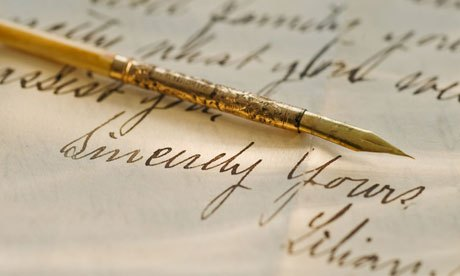 Example of handwriting with gold pen