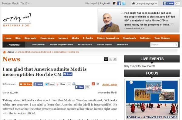 A screenshot from Modi's blog. Source: DNA