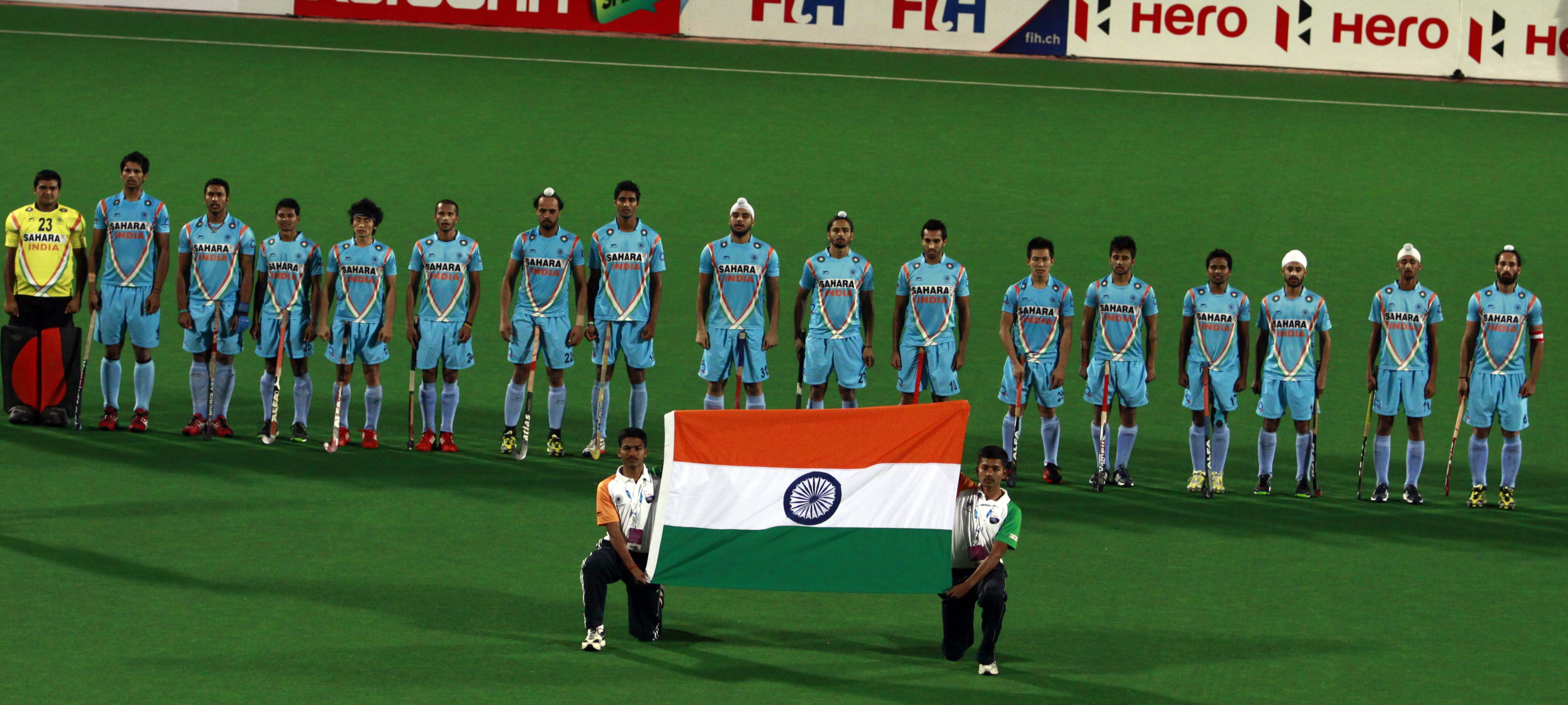 Indian team during National Anthom