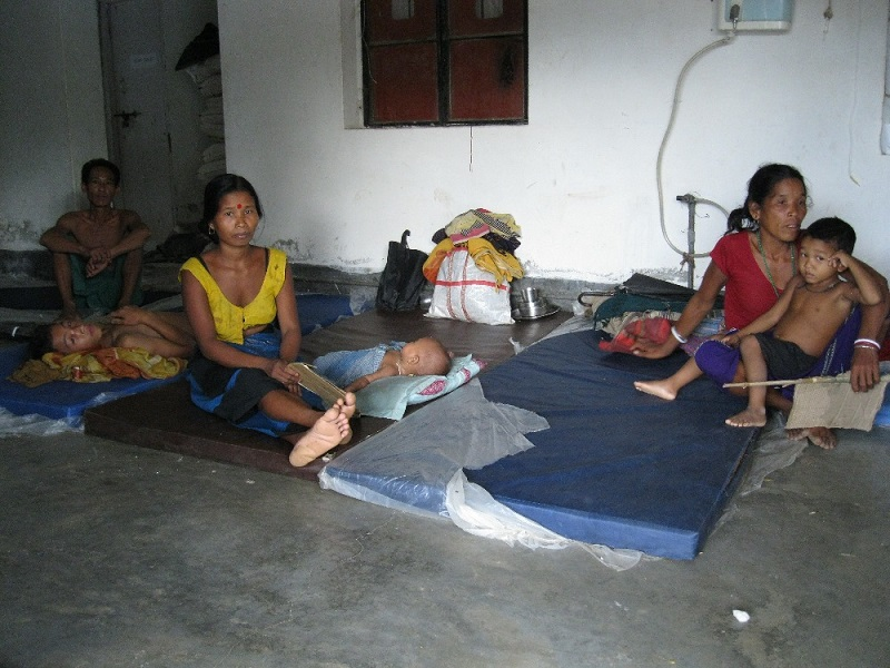 3-months-old Sadona Reang (sleeping near her mom in yellow blouse) at the Ganganagar PHC was diagnosed malaria positive. Was admitted a week ago from a village which is around 15 kms away from the PHC