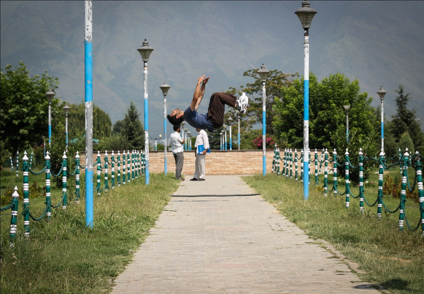 Zahid shah - first traceur of Kashmir, doing a parkour move. Photo Credits — Hashim Ahmad Hakeem