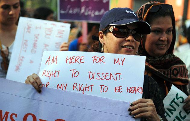 Suzette Jordan (in cap and goggles) in an anti-rape rally in Kolkata. AFP Photo/Dibyangshu SARKAR