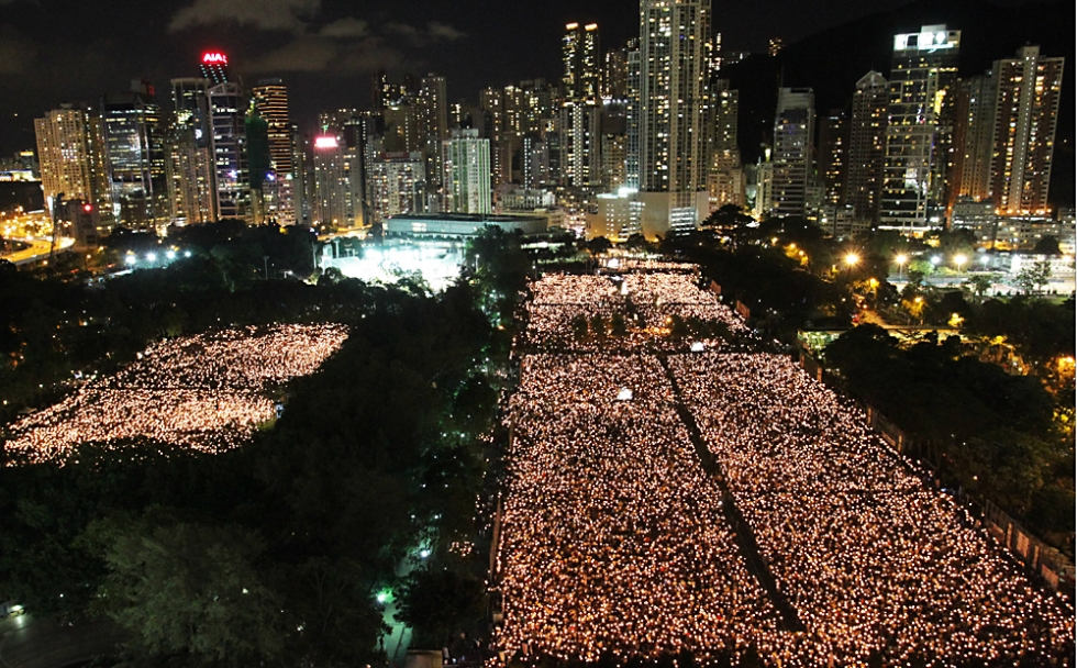The annual Tiananmen Vigil in Victoria Park, Hong Kong