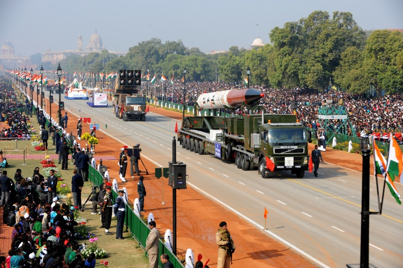 Agni IV missile is on display during the