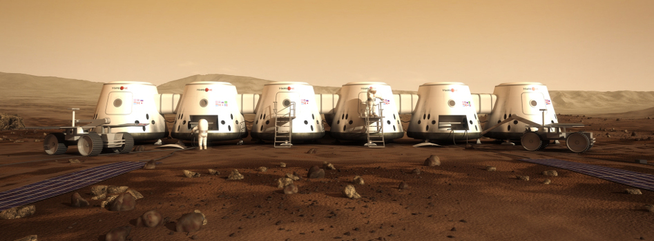 Conceptualisation of the MarsOne human outpost on Mars. Image Courtesy MarsOne