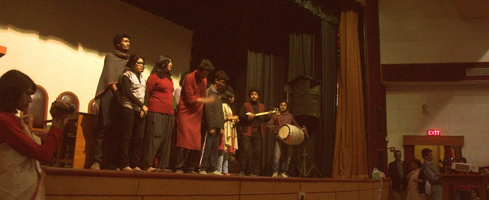 Theatre formation Paribartak after their performance.