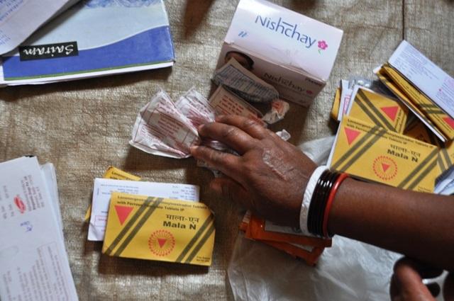 Contraceptives at the anganwadi on Mamta Diwas.