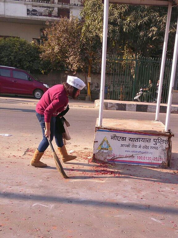 True to their word, the AAP supporters cleaned up after the celebrations.