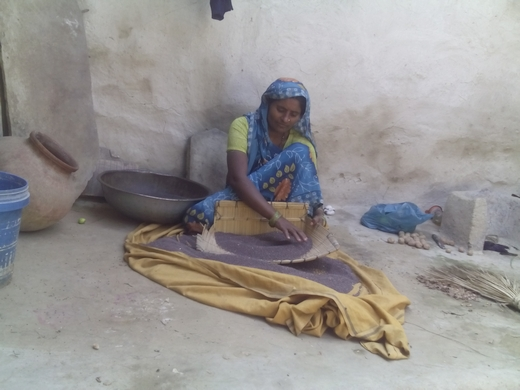 Shyampati, 30, an itinerant farmer, labourer, goat-herder, mother of four and housewife, cleans grain at her home in Uttar Pradesh's Chitrakoot district. Her unemployed husband does not help with any chores. Photo Credits: Khabar Lahariya