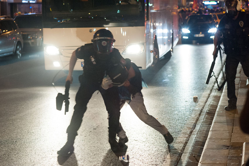 Police action during Gezi park protests in Istanbul. Events of June 16, 2013.
