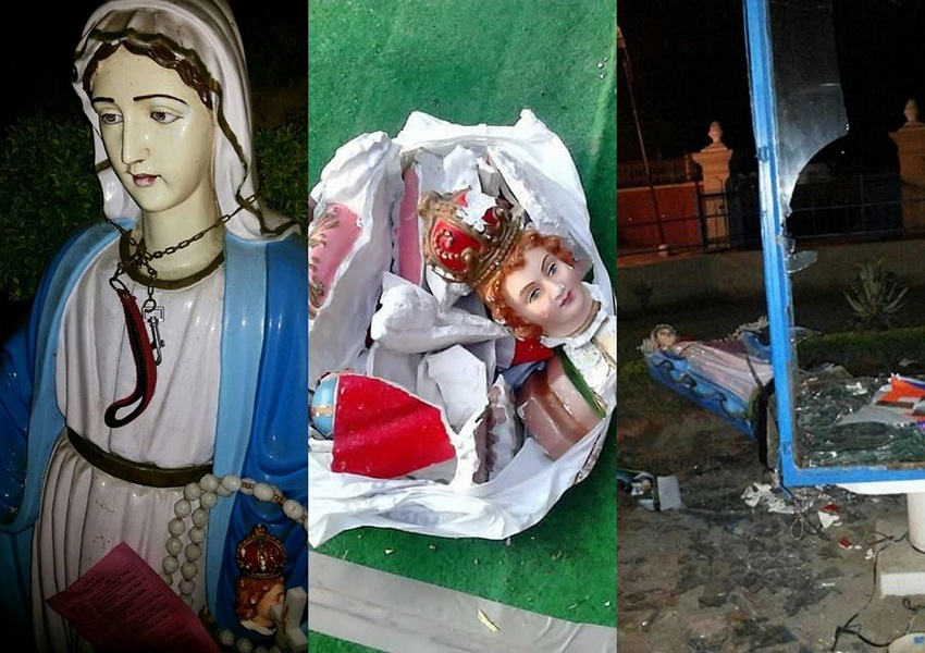 Right: Mother Mary's statue with the leash around it; Center : broken statue of Baby Jesus; Left: a giant glass box near the main gate of the Church, which had Mother Mary's statue inside Picture Credits : John Dayal