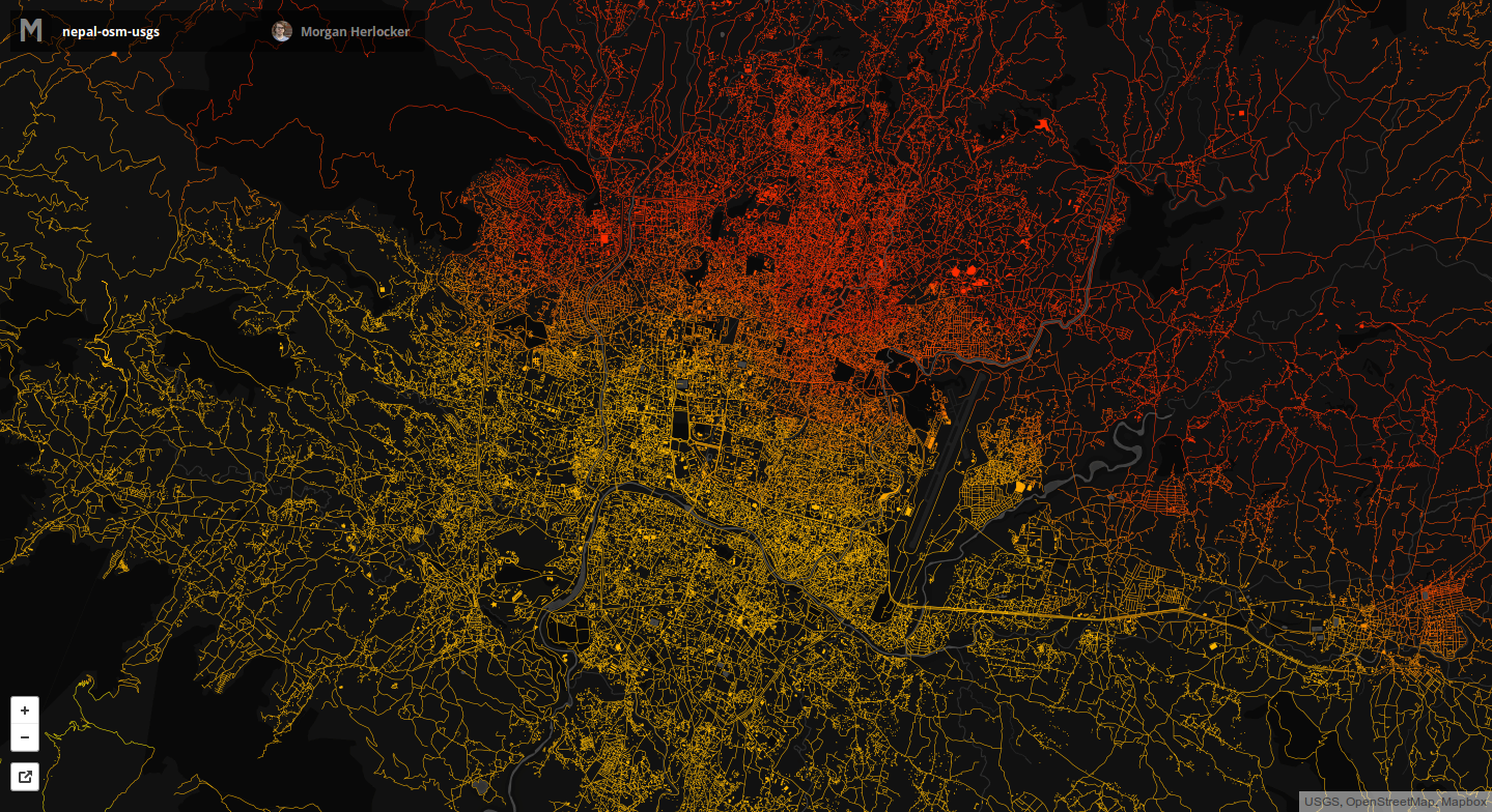 Mapped to OSM Data, Red shows stronger shocks.