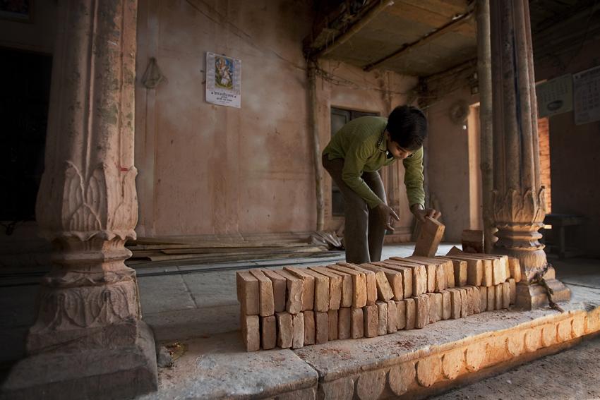 Bricks in a temple in repairs, Varanasi Benares India