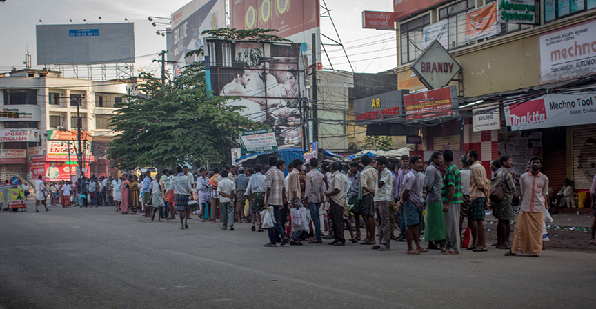 Tamil and telugu migrants waiting for work in the morning at kaloor