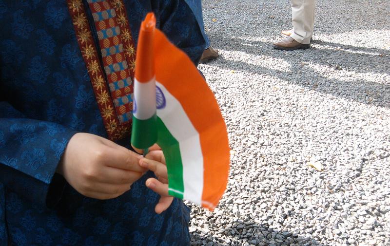 boy holding indian flag