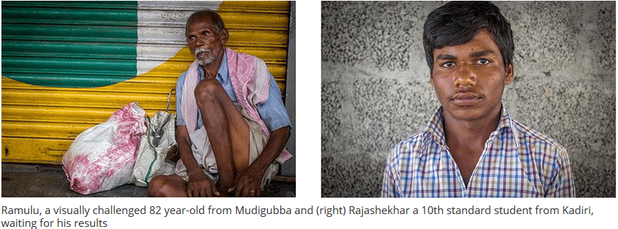 Ramulu, a visually challenged 82 year old from Mudigubba and (right) Rajashekhar, a 10th standard student from Kadiri, waiting for his parents