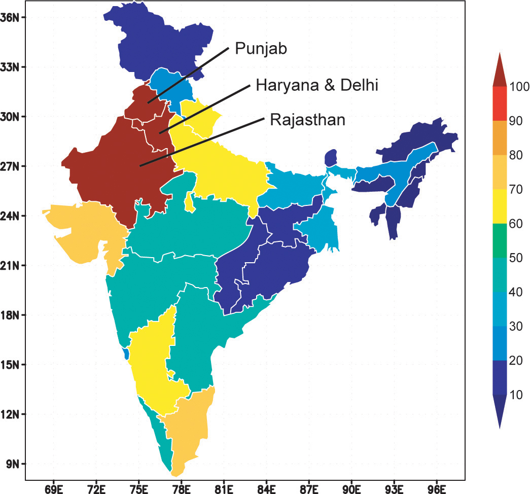 The map, showing groundwater withdrawals as a percentage of groundwater recharge, is based on state-level estimates of annual withdrawals and recharge reported by India's Ministry of Water Resources. The three states included in this study are labeled. Credit: NASA/Matt Rodell