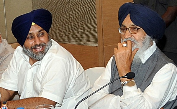 Deputy Chief Minister Sukhbir Badal (left) and his father, Chief Minister Parkash Badal