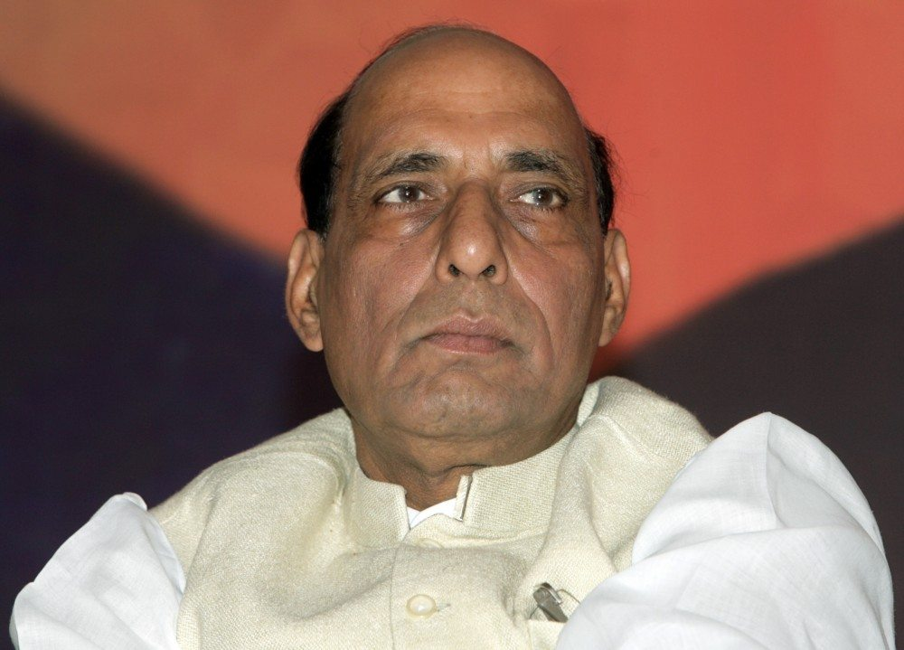 President of India's main opposition Bharatiya Janata Party (BJP) Rajnath Singh pauses during the release of his party's manifesto for the April/May general election in New Delhi April 3, 2009. The BJP promised low taxes and interest rates and a tough national security law in an election manifesto on Friday aimed at boosting its poll ratings. REUTERS/B Mathur (INDIA POLITICS ELECTIONS HEADSHOT) - RTXDKIU