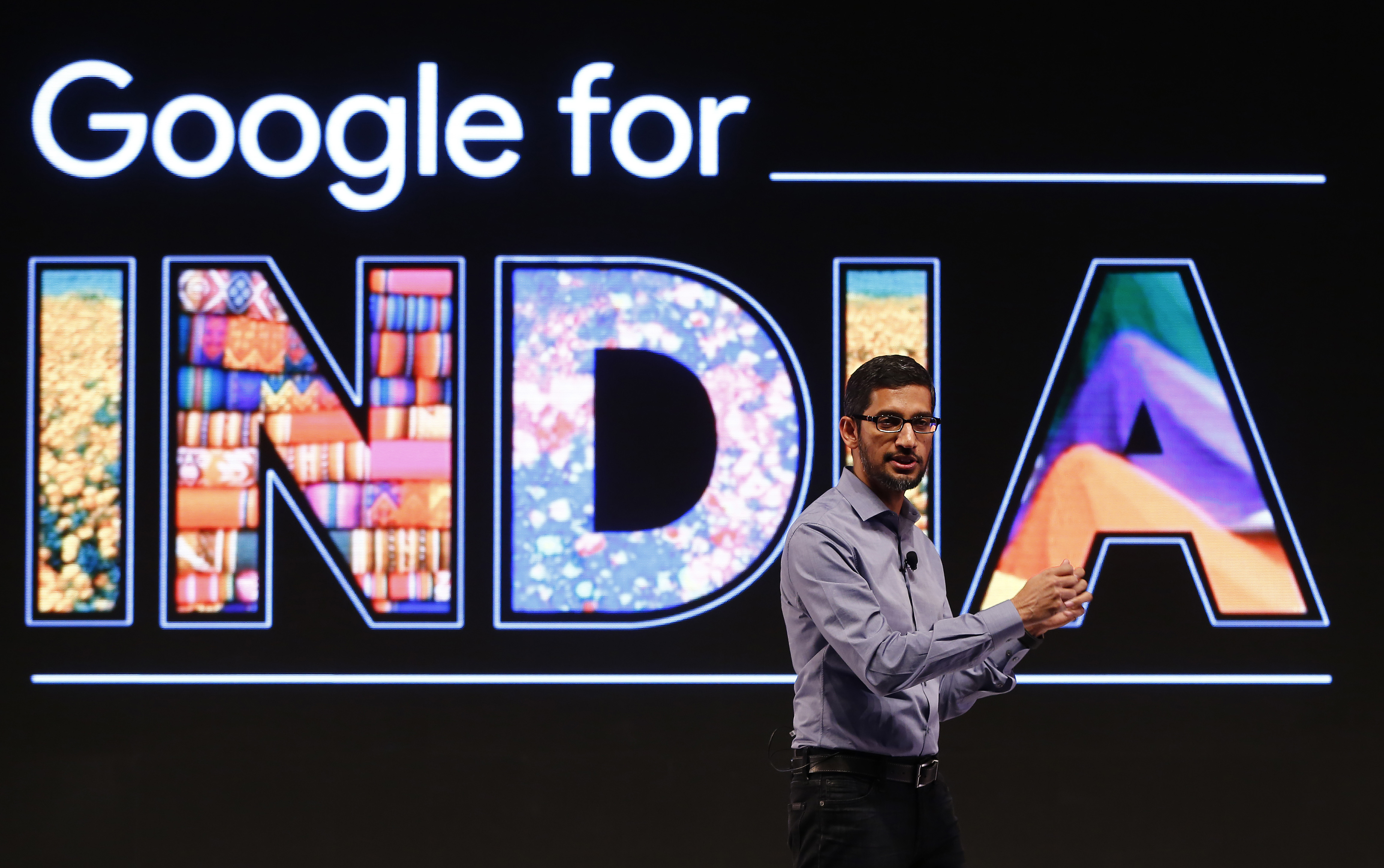 Google CEO Sundar Pichai gestures as he addresses a news conference in New Delhi, India, December 16, 2015. New Google leader Pichai pledged on Wednesday to use India as a testing ground for its products as the U.S. tech giant targets hundreds of millions of consumers in the developing world set to move online in the next few years. REUTERS/Adnan Abidi - RTX1YX7I
