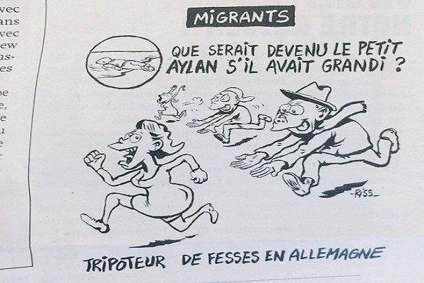 """Illustration by Charlie Hebdo. Translation: """"What would have happened to little Aylan if he grew up?"""" The answer, """"A groper of women in Germany."""""""