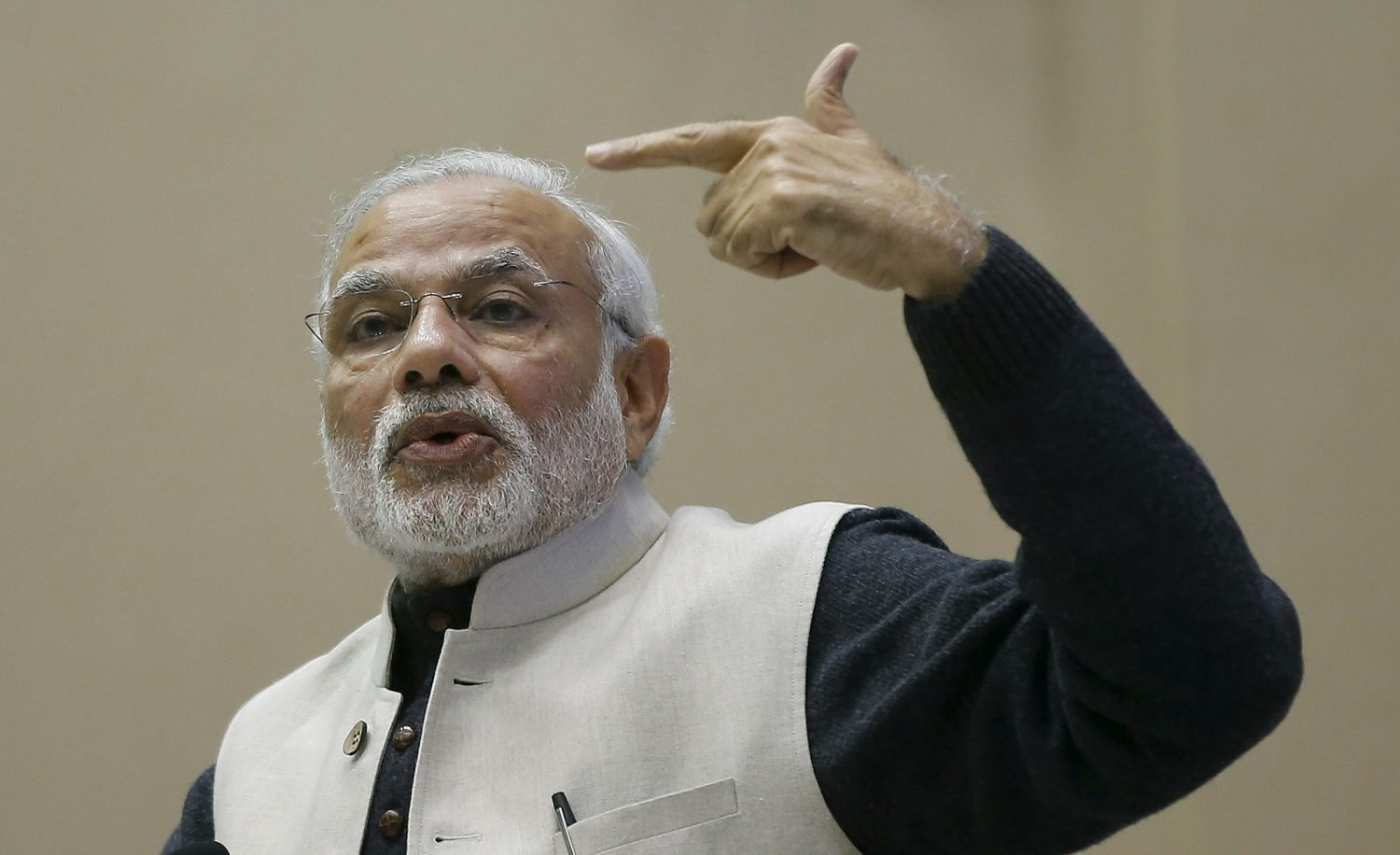 India's Prime Minister Narendra Modi gestures as he addresses a gathering during a conference of start-up businesses in New Delhi, India, January 16, 2016. Indian Prime Minister Modi launched a number of initiatives on Saturday to support the country's start-ups, including a 100 billion rupee ($1.5 billion) fund and a string of tax breaks for both the companies and their investors. REUTERS/Adnan Abidi - RTX22ONI