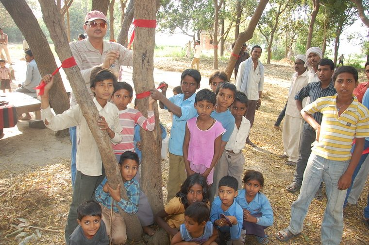 Prabhat with village children