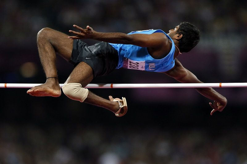 India's Girisha Hosanagara Nagarajegowda competes in the men's High Jump Final F42 during the London 2012 Paralympic Games at the Olympic Stadium in London, September 3, 2012. REUTERS/Stefan Wermuth (BRITAIN - Tags: SPORT OLYMPICS ATHLETICS) - RTR37GA2