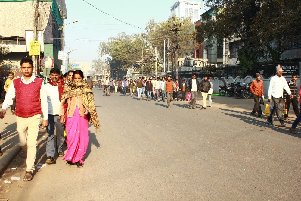 Hundreds of workers make their way to the garment factories every morning. Many of them are not aware of the increase in the minimum wage made by the Haryana government.