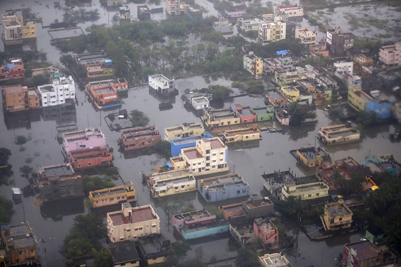 An aerial view shows a flooded residential colony in Chennai, India, December 6, 2015. REUTERS/Anindito Mukherjee - RTX1XEWO