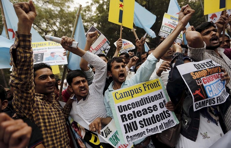 Demonstrators pictured at a protest march in New Delhi, India, March 1, 2016. Dozens of protestors from Campus Front of India (CFI) protested to express solidarity for Rohit Vemula, a low-caste student of the University of Hyderabad who was found hanging at a hostel in January and were also demanding the release of Kanhaiya Kumar, a Jawaharlal Nehru University (JNU) student union leader accused of sedition. REUTERS/Anindito Mukherjee - RTS8QM0