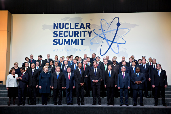 WASHINGTON, D.C. - APRIL 01: (AFP OUT) U.S. President Barack Obama (C) stands among other heads of state and attendees during a family photo at the Nuclear Security Summit on April 1, 2016 in Washington, D.C. U.S. After a spate of terrorist attacks from Europe to Africa, Obama is rallying international support during the summit for an effort to keep Islamic State and similar groups from obtaining nuclear material and other weapons of mass destruction. (Photo by Andrew Harrer-Pool/Getty Images)