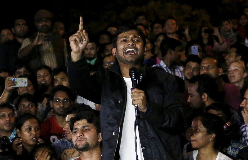 Jawaharlal Nehru University (JNU) student Kanhaiya Kumar addresses students inside the university campus after being released on bail from a Delhi prison in New Delhi, India, March 3, 2016. REUTERS/Anindito Mukherjee - RTS966K