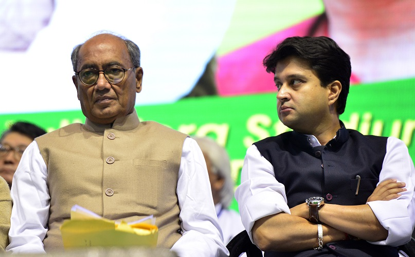 NEW DELHI, INDIA DECEMBER 06: Congress leaders Sheila Dikshit, Digvijay Singh and Jyotiraditya Scindia at the 31st Plenary Session of Indian National Trade Union Congress (INTUC) at the Talkatora Stadium in New Delhi.(Photo by Ramesh Sharma/India Today Group/Getty Images)
