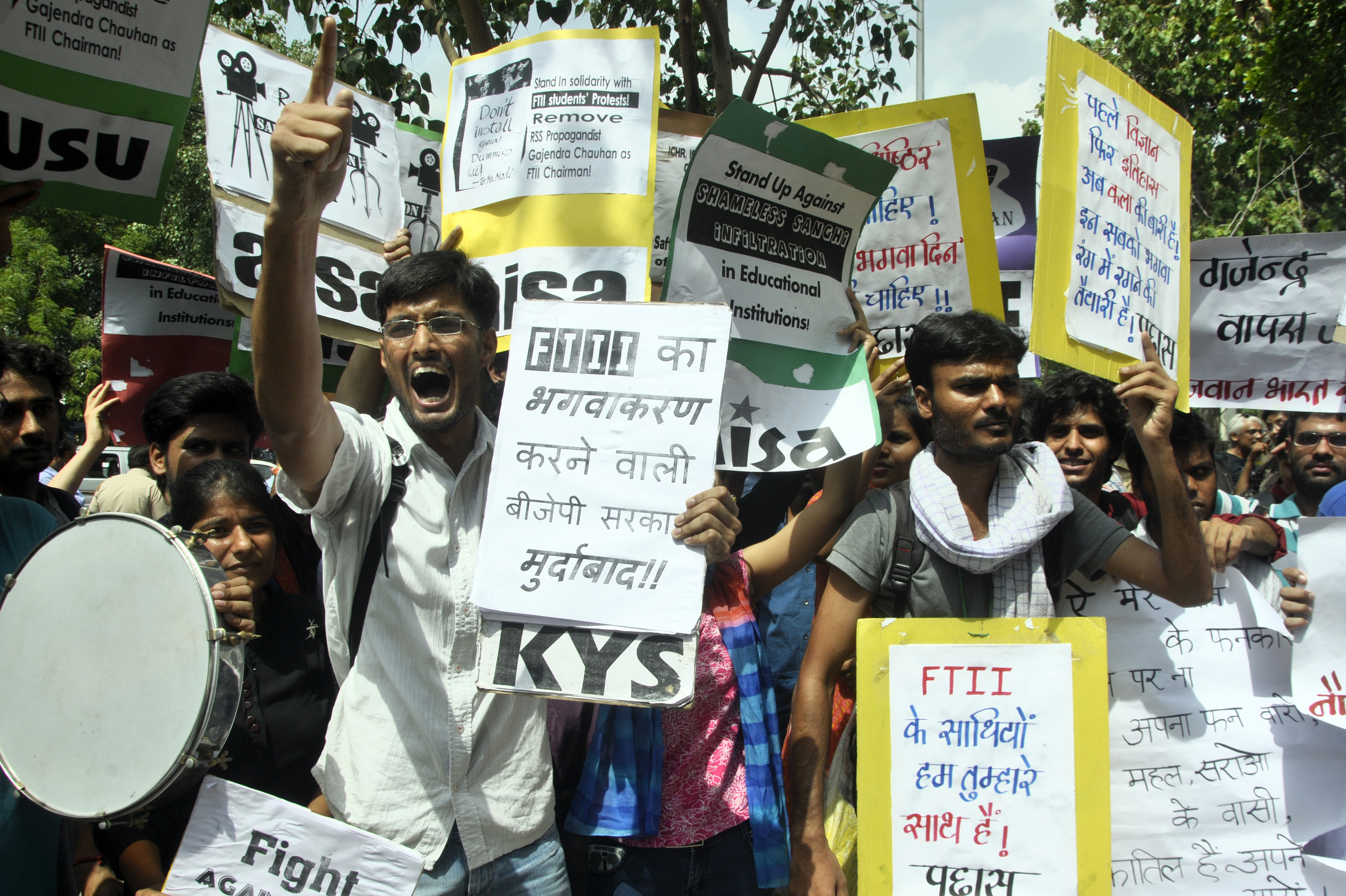 NEW DELHI,INDIA JULY 03: Students shout slogans at a protest against the appointment of Gajendra Chauhan as the chairman of the FTII governing council, in New Delhi.(Photo by Praveen Negi/India Today Group/Getty Images)