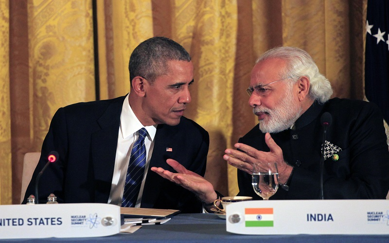 WASHINGTON, DC - MARCH 31: (AFP OUT) U.S. President Barack Obama talks to Prime Minister Narendra Modi of India a working dinner with heads of delegations at the Nuclear Security Summit March 31, 2016 in Washington, DC. World leaders are gathering for a two-day conference that will address a range of issues including ongoing efforts to prevent terrorist groups from accessing nuclear material. (Photo by Dennis Brack - Pool/Getty Images)