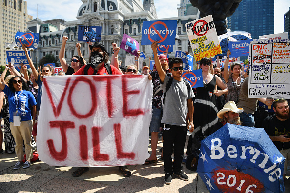 PHILADELPHIA, PA - JULY 27: Bernie Sanders supporters gather near City Hall on day three of the Democratic National Convention (DNC) on July 27, 2016 in Philadelphia, Pennsylvania. The convention officially began on Monday and has attracted thousands of protesters, members of the media and Democratic delegates to the City of Brotherly Love. (Photo by Jeff J Mitchell/Getty Images)