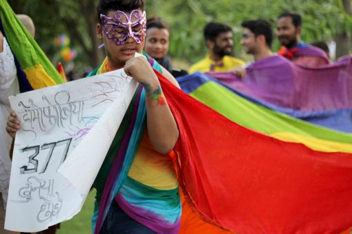 A young man drapes a rainbow saree to repeal section 377