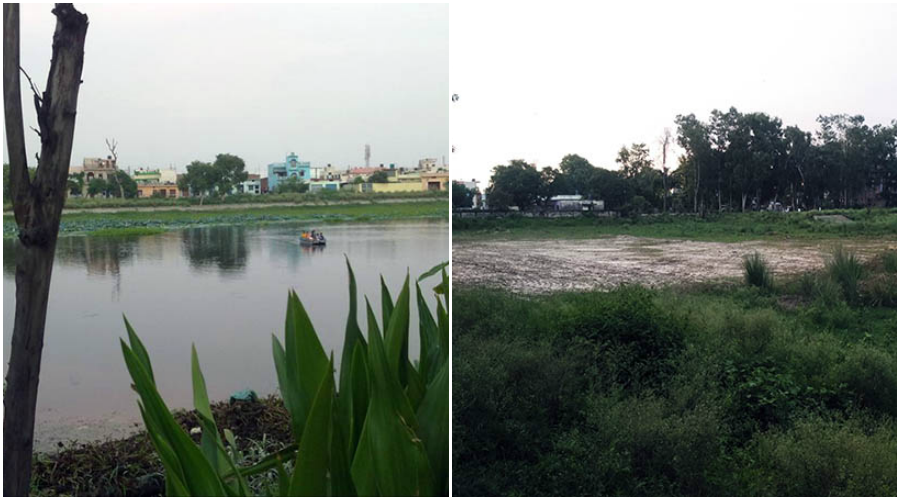 The lake in 2012 (L) and in 2016 (R).