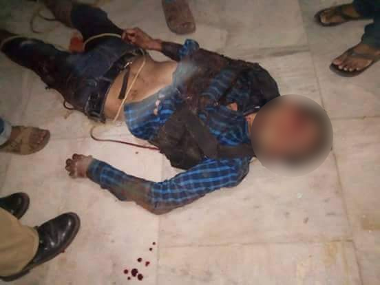 The body of one of the suspected militants who was killed during the attack.