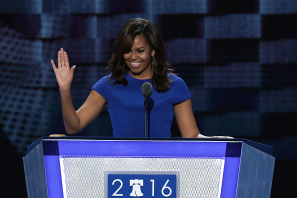 Michelle Obama at DNC 2016 delivering a rather memorable speech. Source: Alex Wong/Getty