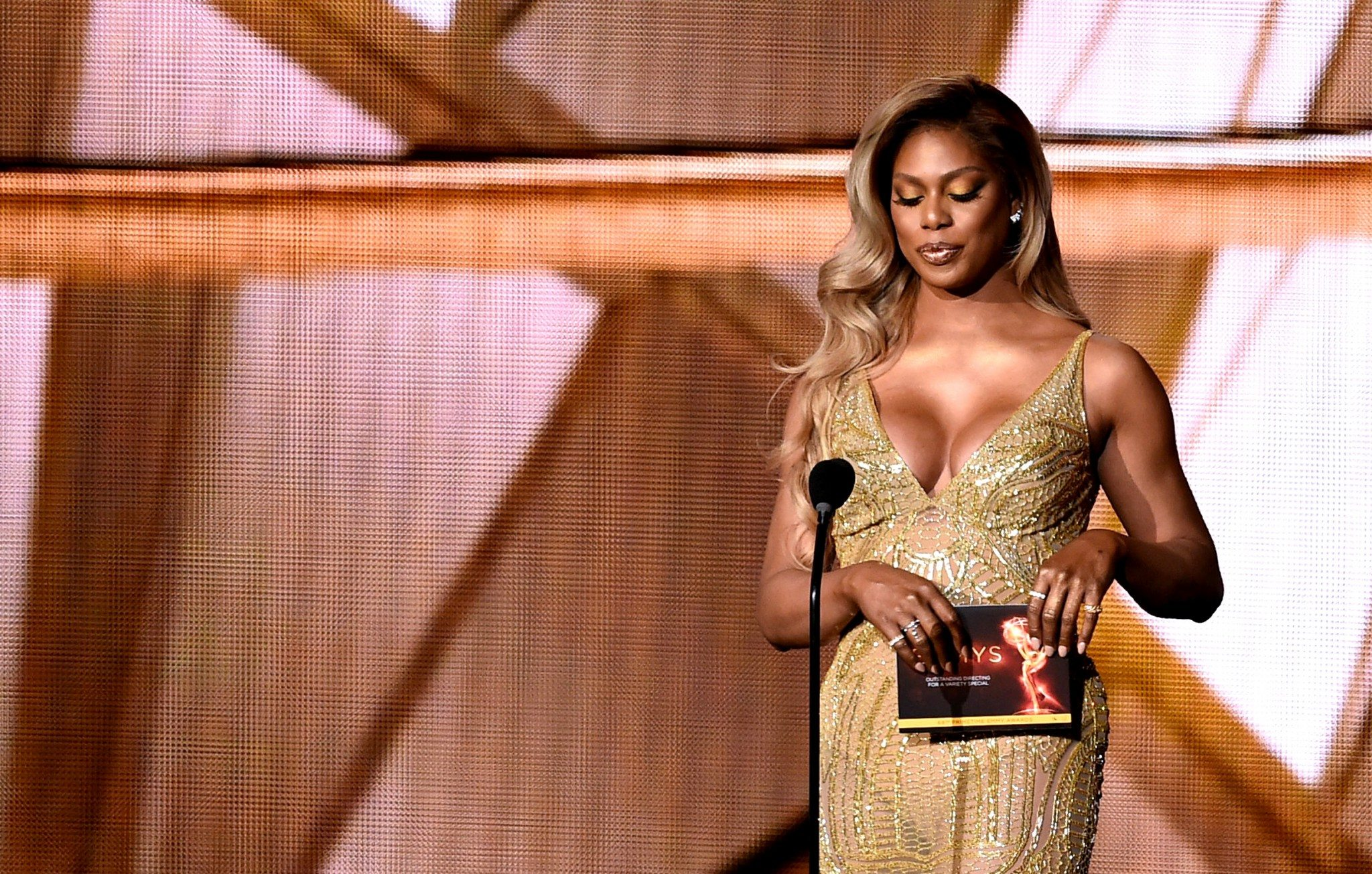 LOS ANGELES, CA - SEPTEMBER 18: Actress Laverne Cox speaks onstage during the 68th Annual Primetime Emmy Awards at Microsoft Theater on September 18, 2016 in Los Angeles, California. (Photo by Kevin Winter/Getty Images)
