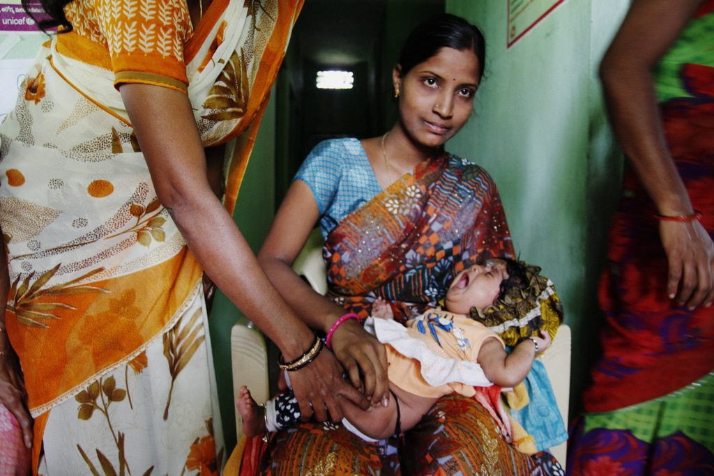 Swarupa, the mother is 24 years old. Niharika is the baby daughter who is 3 months old.Primary Health Center. Tadwai, Errapahad. Nizamabad District.