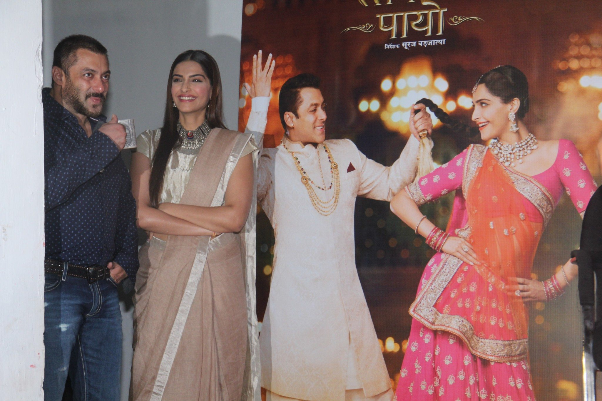 MUMBAI, INDIA - NOVEMBER 16: Bollywood actors Salman Khan and Sonam Kapoor during the press conference organised to thank the audience for the love and support they have shown for the film Prem Ratan Dhan Payo on November 16, 2015 in Mumbai, India. (Photo by Pramod Thakur/Hindustan Times via Getty Images)