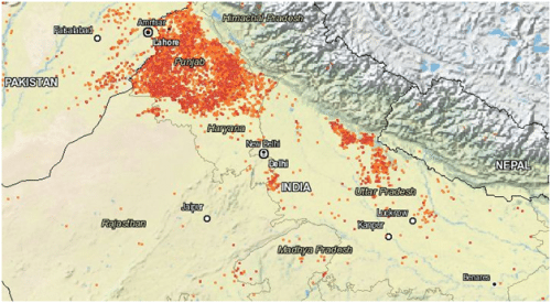 Image showing the crop fires in Punjab and Haryana in the past 72 hours (Source: NASA fire web mapper)