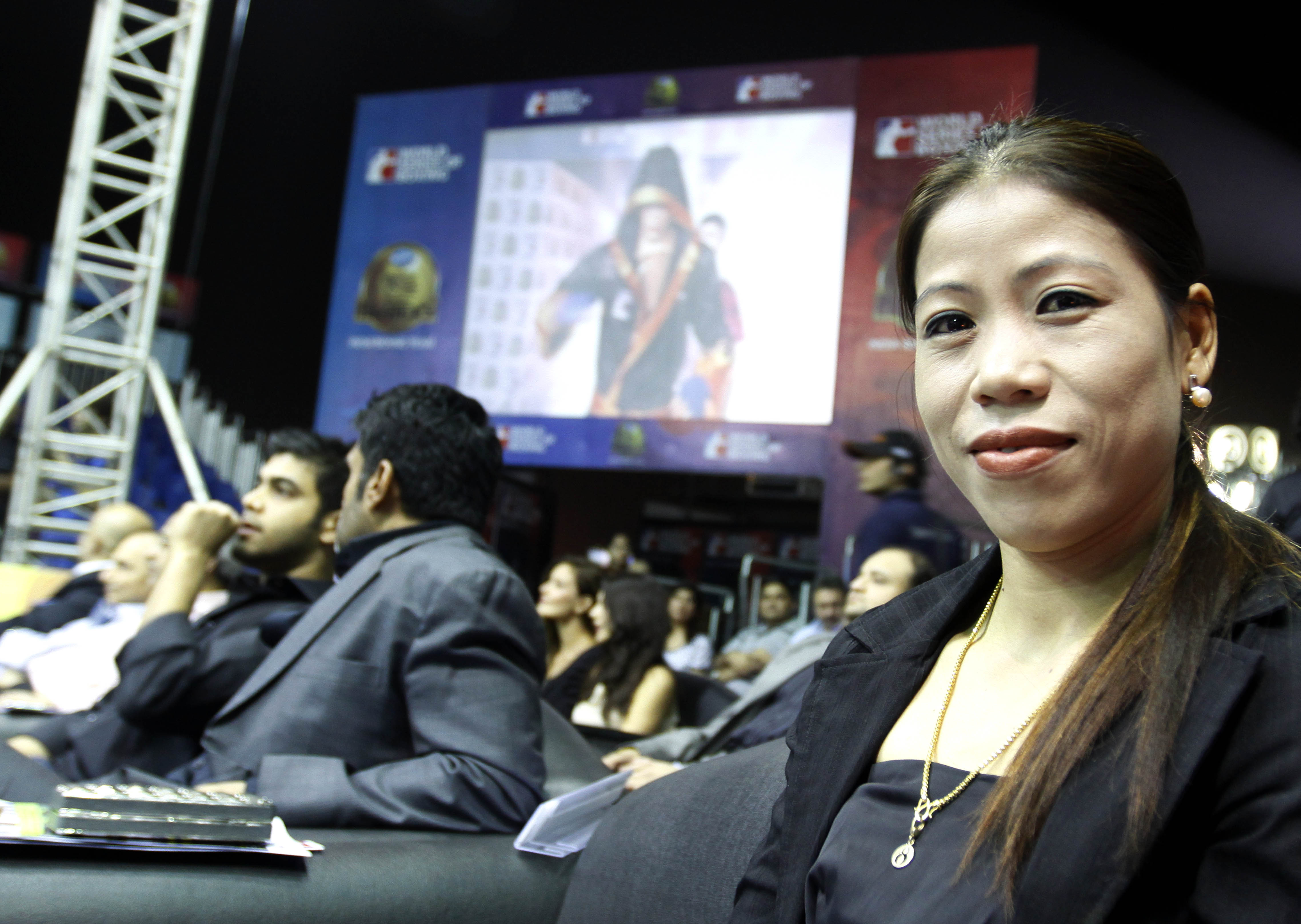 Indian women boxer Mary Kom during the World Series Boxing competition in Mumbai, India on March 2, 2012, where Venky's Mumbai Fighters boxers take on Baku Fires. The Indian franchise, owned by TransStadia Boxing India Pvt. Ltd., is part of 12 teams from across the world competing in WSB, an event organised by the boxing world body, AIBA. (Srinivas Akella/SOLARIS IMAGES)